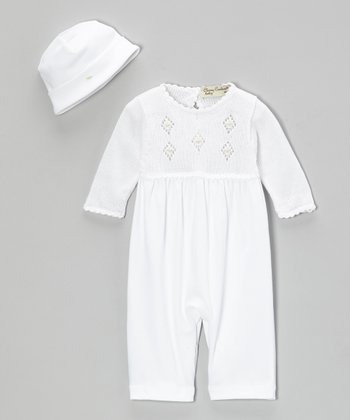 White Kyle Crocheted Playsuit & Beanie - Infant