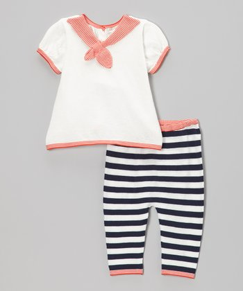 Red & Navy Stripe Swing Top & Leggings - Infant
