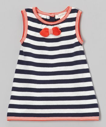 Navy & Red Stripe Swing Dress - Infant