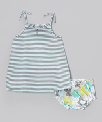 Aqua & Hazel Stripe Swing Dress & Bloomers - Infant