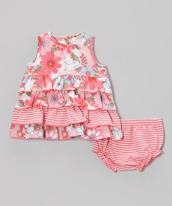 Pink Savannah Tier Sundress & Bloomers - Infant