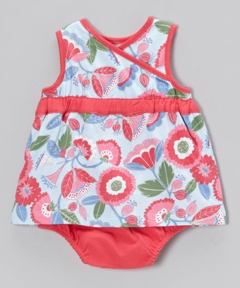 Blue & Pink Penelope Surplice Bodysuit - Infant