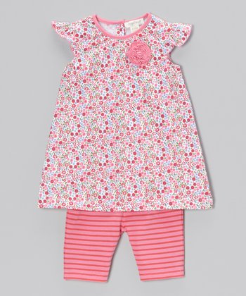 Pink Floral Maggie Dress & Capri Leggings - Toddler