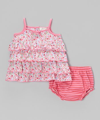 Pink Floral Maggie Tier Sundress & Bloomers - Infant