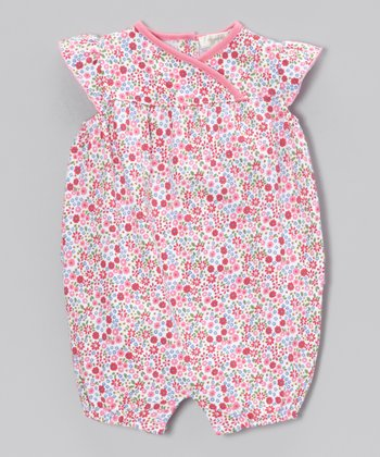 Pink Floral Maggie Ruffle-Back Bubble Romper - Infant