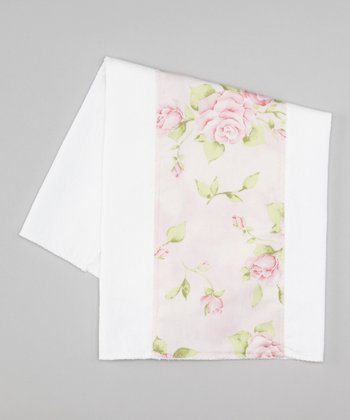 White & Pink Roses Burp Cloth