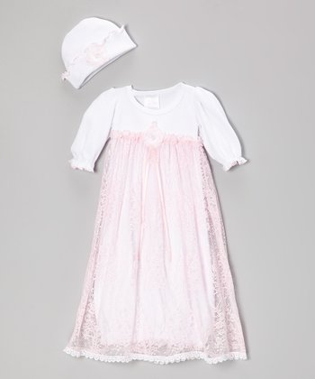 White & Pink Lace Gown & Beanie - Infant