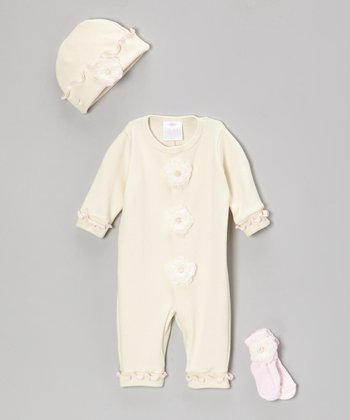 Cream & Pink Rose Playsuit Set