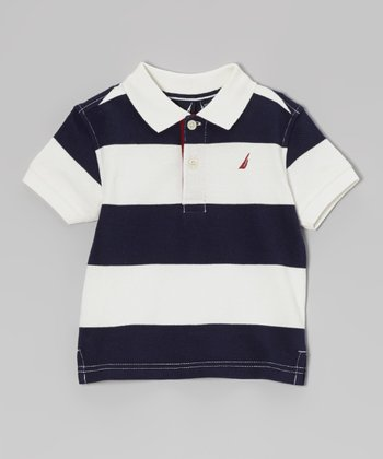 Cream & Navy Stripe Polo - Infant