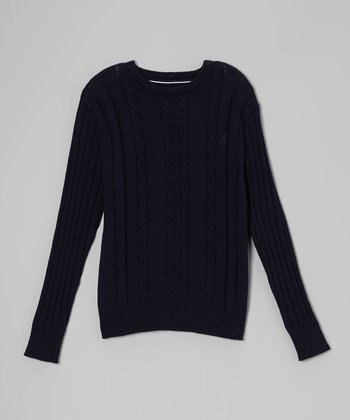 Peacoat Cable Crew Sweater - Boys