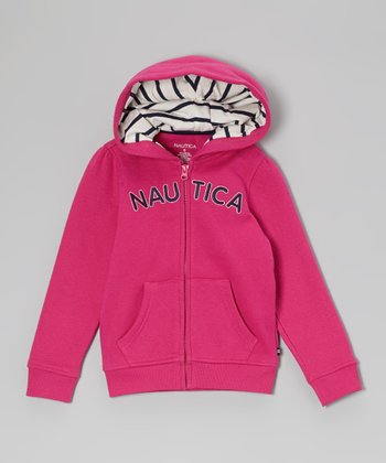 Bright Pink Fleece Hoodie - Girls