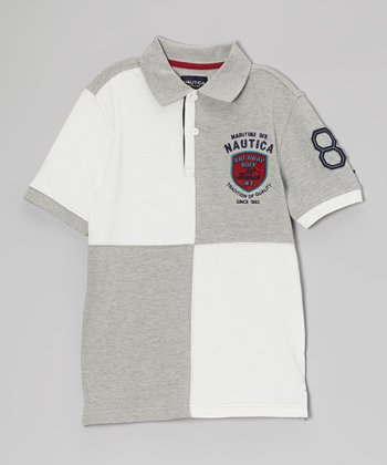 Ash Heather Pique Polo - Boys