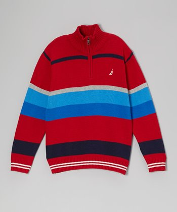 Cherry & Blue Stripe Pullover Sweater - Boys