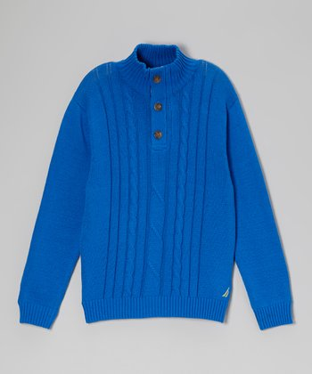 Blue Jean Button Pullover Sweater - Boys
