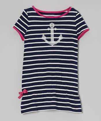 Naval Blue Stripe Anchor Tee - Girls
