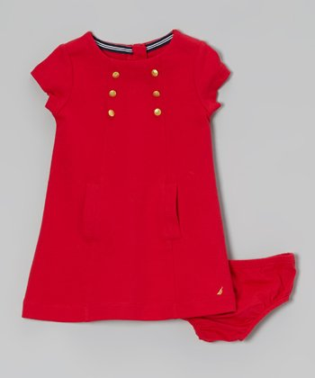 Red Short Sleeve Ponte Dress - Girls