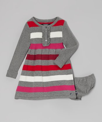 Gray Stripe Sweater Dress - Girls