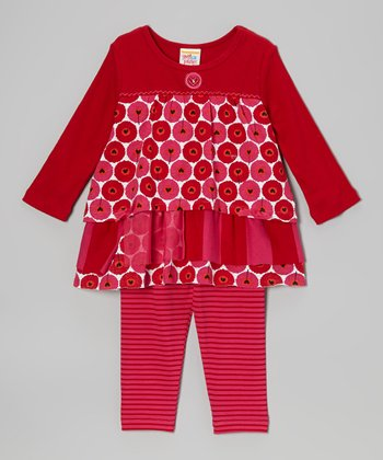 Red Floating Hearts Dress & Leggings - Infant, Toddler & Girls