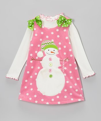 Pink & Green Snowman Fleece Jumper & Top - Toddler