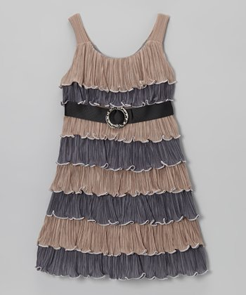 Brown & Charcoal Ruffle Dress - Girls