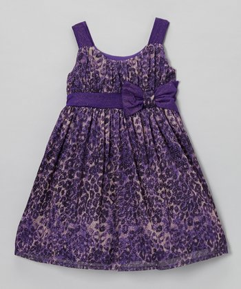 Purple Leopard Sparkle Dress - Girls