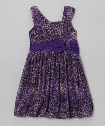 Purple Leopard Sparkle Bubble Dress - Girls