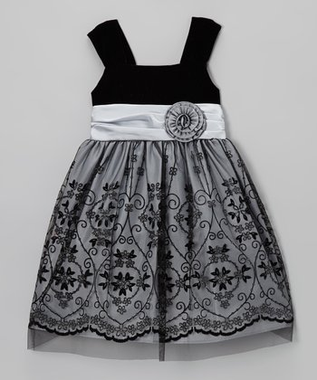 Black & Silver Flocked Flower Dress - Girls