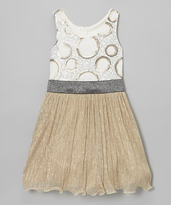 Gold Circle Sequin Dress - Girls