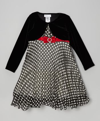 Black Polka Dot Dress & Bolero - Girls
