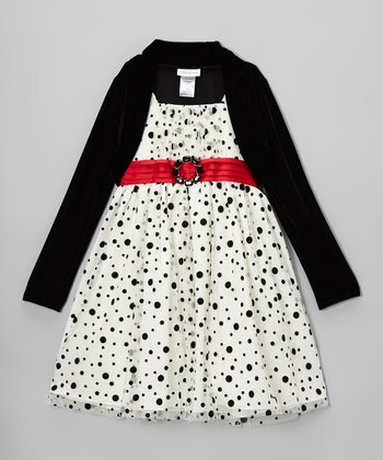 White & Black Polka Dot Dress & Bolero - Girls
