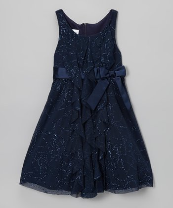 Blue Sparkle Bow Dress - Girls