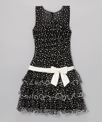 Black Dot Drop-Waist Dress - Girls