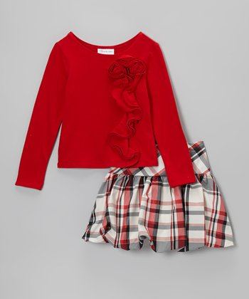 Red Rosette Top & Plaid Skirt - Girls