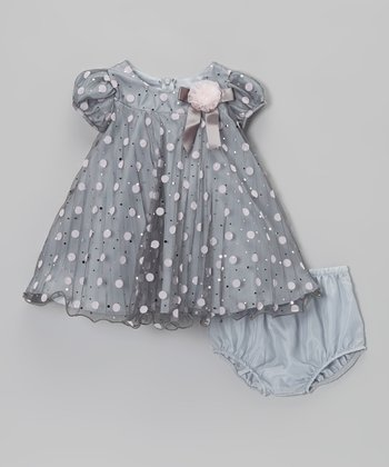 Gray & Pink Dot Swing Dress - Infant & Toddler
