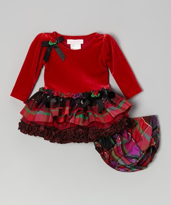 Red Velvet Ruffle Tier Dress & Plaid Diaper Dover - Infant