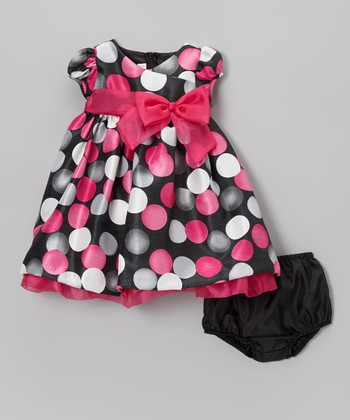 Black & Pink Dot Swing Dress & Diaper Cover - Infant