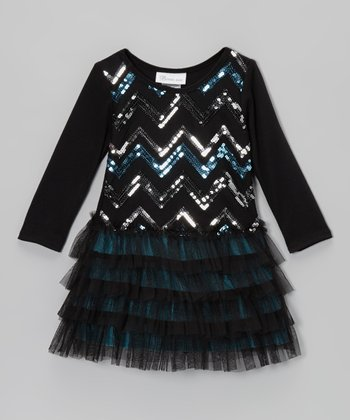 Black Zigzag Sequin Drop-Waist Dress - Toddler