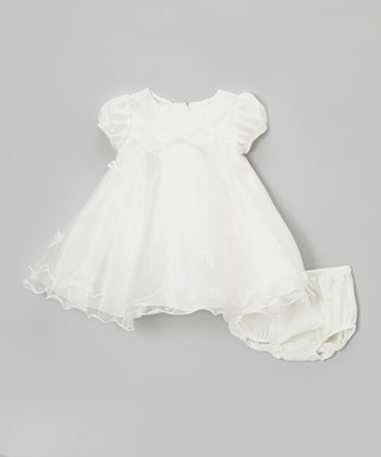 Ivory Bow Organza Dress & Diaper Cover - Infant