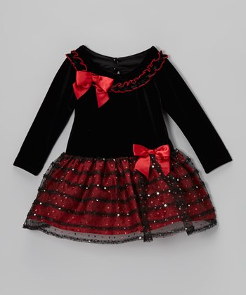 Red Bow Drop-Waist Dress - Toddler