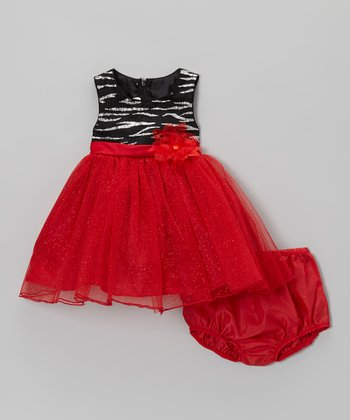 Black & Red Zebra Sparkle Dress - Infant, Toddler & Girls