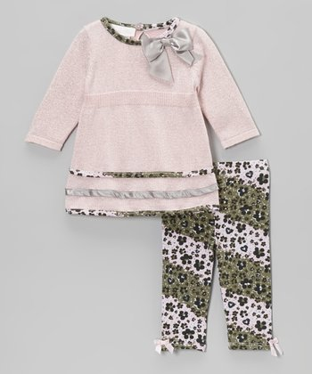 Pink & Silver Leopard Sparkle Sweater & Leggings - Infant