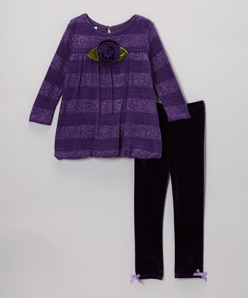 Purple Stripe Sparkle Bubble Dress & Leggings - Infant