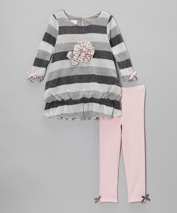 Gray Stripe Sparkle Bubble Dress & Leggings - Infant & Toddler