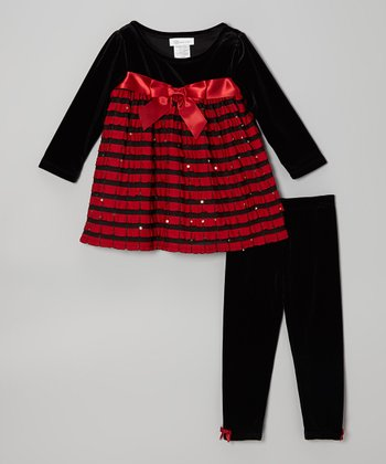 Red & Black Stripe Babydoll Dress & Leggings - Toddler