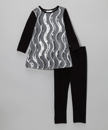 Gray Squiggle Sequin Dress & Leggings - Toddler & Girls