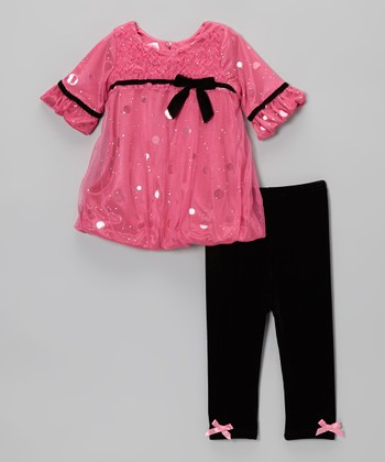 Fuchsia Sparkle Bubble Dress & Leggings - Infant & Toddler