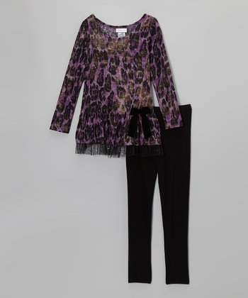 Purple Leopard Drop-Waist Dress & Leggings - Girls