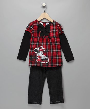 Red & Black Plaid Minnie Layered Top & Jeans - Infant