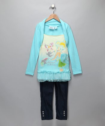 Light Blue Tinker Bell Layered Top & Jeggings - Girls