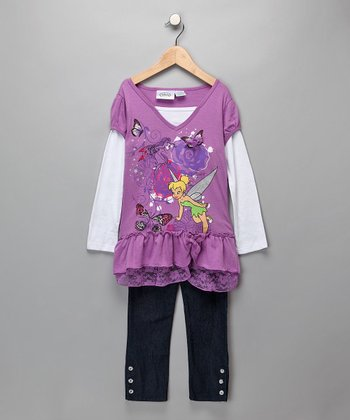 Lavender Tinker Bell Layered Top & Jeggings - Girls